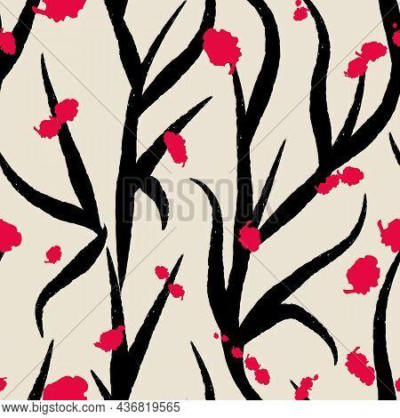Vector Black Ink Blots Tree Seamless Pattern