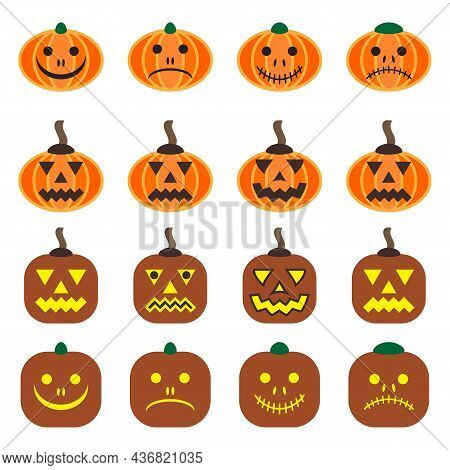 Halloween Pumpkin Set. Vector Flat 16 Icons. Emotions Variations. Vegetable Graphic Icons With Happy