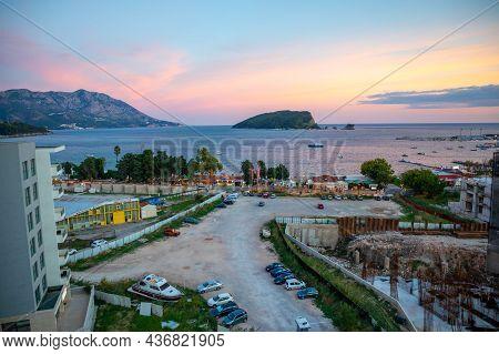 Budva, Montenegro - September 9, 2021: St. Nicholas Island At Sunrise Ligths In Budva, Montenegro