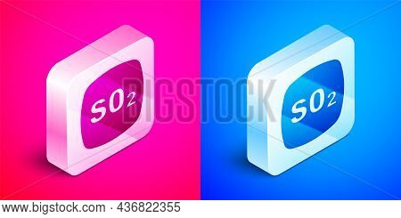 Isometric Sulfur Dioxide So2 Gas Molecule Icon Isolated On Pink And Blue Background. Structural Chem