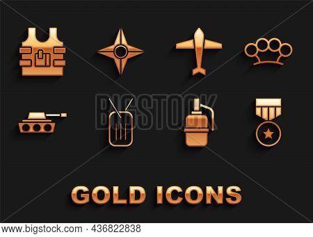 Set Military Dog Tag, Brass Knuckles, Reward Medal, Hand Grenade, Tank, Jet Fighter, Bulletproof Ves