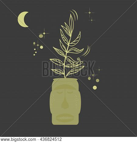 Flower Pot In Shape Of An Indian Head. Potted Plant On Dark Background Of Starry Sky And Moon. Mysti
