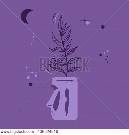 Flower Pot In Form Of Head Of Moai Statue. Houseplant On Dark Background Of Starry Sky And Moon. Mys