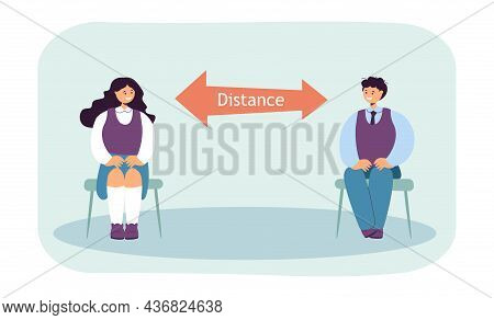 Children Sitting On Chairs At Safe Physical Distance. Coronavirus Protection For Kids Flat Vector Il