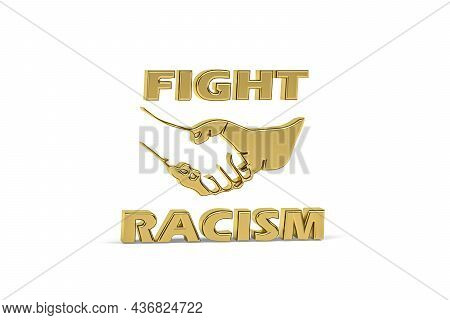 Black Lives Matter - Golden Racism Icon Isolated On White Background - 3d Render