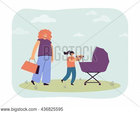 Mother With Shopping Bag And Daughter Pushing Baby Carriage. Woman And Girl On Walk With Newborn Chi