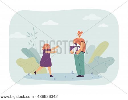 Little Girl Running Towards Female Character Holding Ball. Friends Or Sisters Playing Together Flat