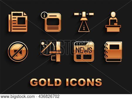 Set Radar, Breaking News, Notebook, News, Censored Stamp, Satellite, And Information Icon. Vector