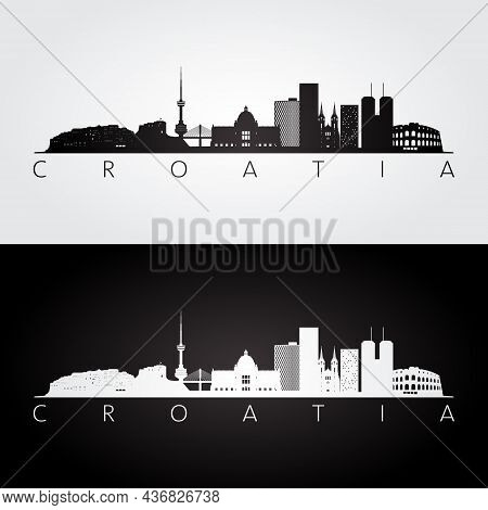 Croatia Skyline And Landmarks Silhouette, Black And White Design, Vector Illustration.