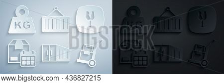 Set Container, Fragile Broken Glass, Cardboard Box With Calendar, Hand Truck And Boxes, Crane And We