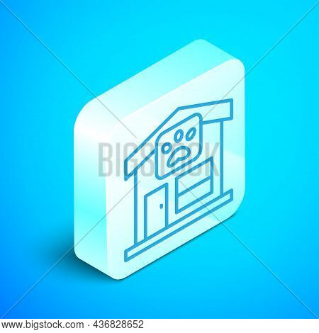 Isometric Line Pet Grooming Icon Isolated On Blue Background. Pet Hair Salon. Barber Shop For Dogs A