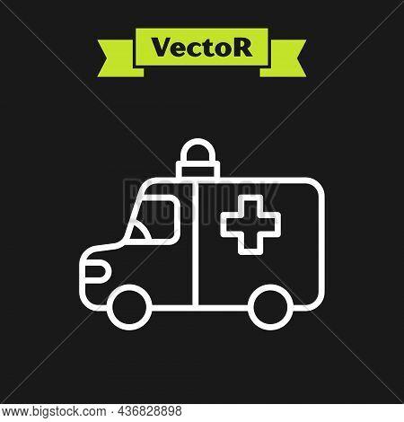 White Line Ambulance And Emergency Car Icon Isolated On Black Background. Ambulance Vehicle Medical