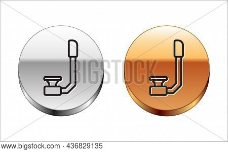 Black Line Snorkel Icon Isolated On White Background. Diving Underwater Equipment. Silver-gold Circl