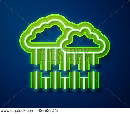 Glowing Neon Line Cloud With Rain Icon Isolated On Blue Background. Rain Cloud Precipitation With Ra