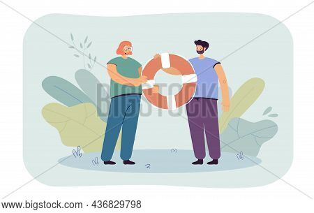 People Holding Lifebuoy Together. Man And Woman Helping People With Problem Flat Vector Illustration