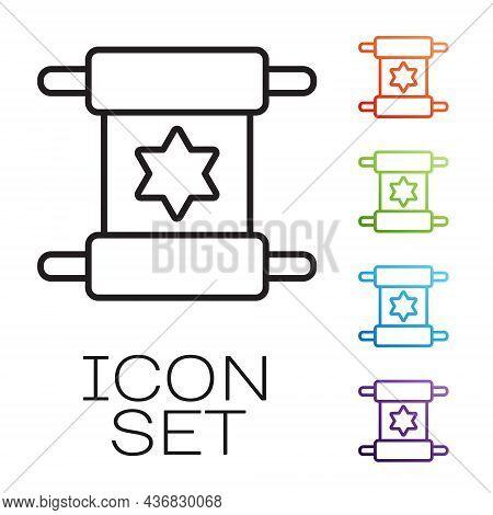 Black Line Torah Scroll Icon Isolated On White Background. Jewish Torah In Expanded Form. Star Of Da