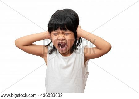 Portrait Of Angry Emotional Asian Girl Screaming And Frustrated Shouting With Anger, Crazy And Yelli