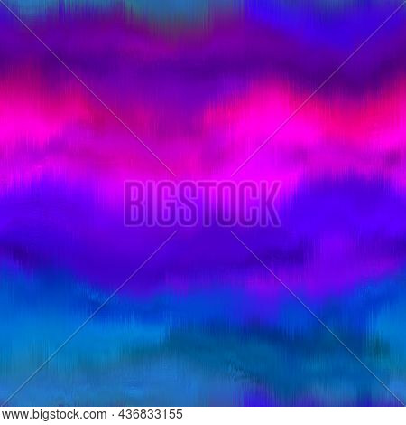 Rainbow Space Dyed Watercolor Wave Texture Background. Seamless Tropical Vibrant 80s Boho Style Patt