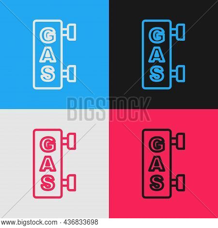 Pop Art Line Gas Filling Station Icon Isolated On Color Background. Transport Related Service Buildi