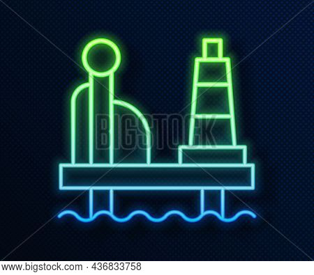 Glowing Neon Line Oil Platform In The Sea Icon Isolated On Blue Background. Drilling Rig At Sea. Oil