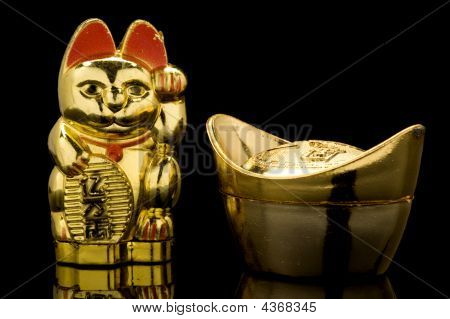 Gold Ingot e gato afortunado (china)