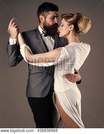 Passion And Love Concept. Ballroom Dancing. Couple Dance. Dancing, Salsa, Tango, Waltz. Couple In Te