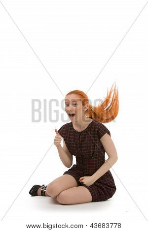 Laughing Redhead Woman Flicking Her Hair