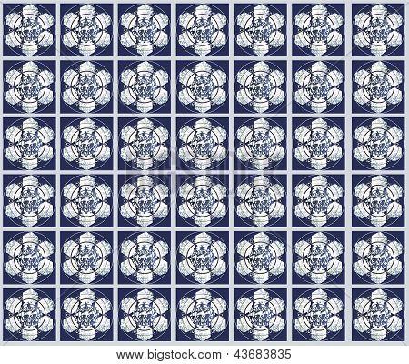 Vector pattern of Oriental flowers