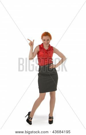 Stylish Woman Pointing To Blank Copyspace