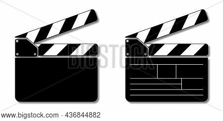 Cinema Clapboard Set. Clapperboard For Video Camera Action. Vector Illustration Isolated On White Ba