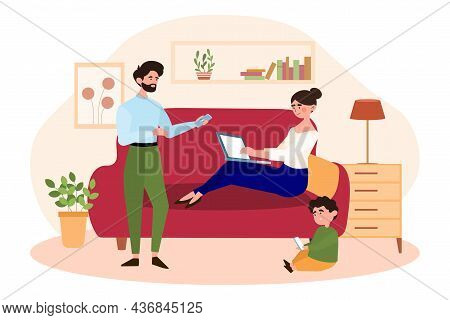 Concept Of Gadget Addiction. Whole Family Sits In Evening With Modern Devices. Mother, Father And So