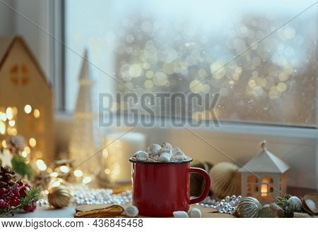 Cozy Home Christmas Atmosphere, Window View Mug Of Hot Chocolate On Windowsill, Evening At Home, Hol