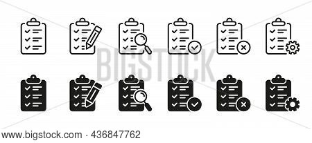 Set Of Clipboard For Note Icon. Checklist On Board With Pencil, Gear, Magnifier Line And Silhouette