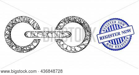 Vector Network Chain Link Frame, And Register Now Blue Rosette Grunge Stamp Seal. Wire Carcass Net I