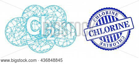 Vector Network Chlorine Cloud Wireframe, And Chlorine Blue Rosette Rubber Seal Imitation. Crossed Fr