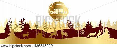 Christmas Forest Silhouette Landscape, Vector X-mas Winter Golden Background, Reindeer Outline. Holi