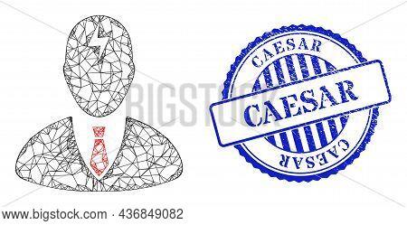 Vector Net Mesh Boss Headache Carcass, And Caesar Blue Rosette Dirty Stamp Seal. Linear Frame Net Sy