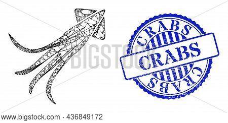 Vector Net Calmar Wireframe, And Crabs Blue Rosette Dirty Seal Imitation. Linear Carcass Net Symbol