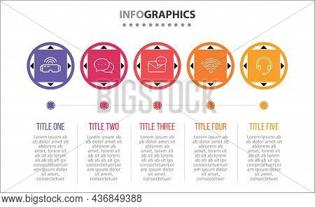 Vector Infographic Design With Icons. 5 Options Or 5 Steps. Process Diagram, Flow Chart, Info Graph,