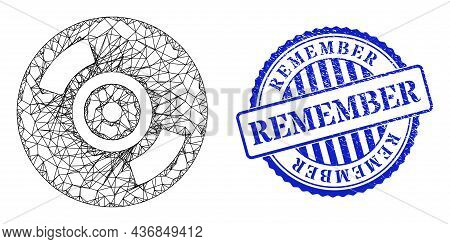 Vector Network Cd Disc Frame, And Remember Blue Rosette Scratched Stamp Seal. Linear Frame Network S