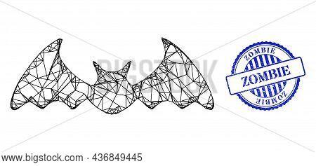 Vector Net Bat Mouse Carcass, And Zombie Blue Rosette Textured Stamp Seal. Linear Carcass Net Illust