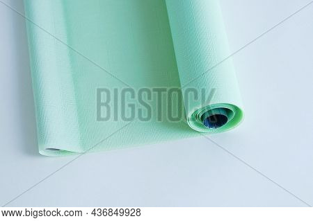 Green Roller Blind For Window Blinds With Canvas Texture. White Background.