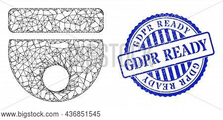 Vector Net Cctv Camera Wireframe, And Gdpr Ready Blue Rosette Scratched Stamp Seal. Wire Carcass Net