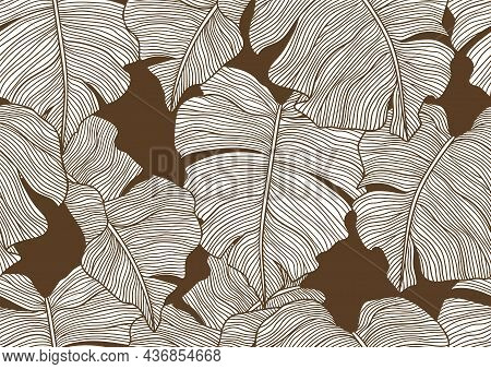 Seamless Pattern With Stylized Palm Leaves. Decorative Image Of Tropical Foliage And Plants.