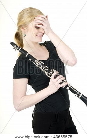 Female Musician Blushes After Receiving Praise For Music On Clarinet