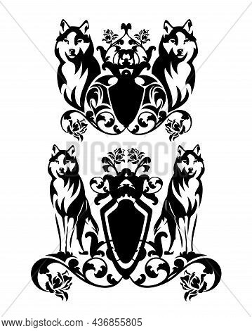 Pair Of Standing Wolves With Heraldic Shield Decorated With Rose Flowers - Medieval Style Fantasy Co