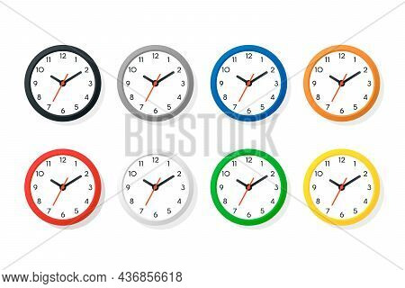 Vector Color Flat Wall Office Clock Icon Set Isolated On White. Different Colors. White Dial. Design