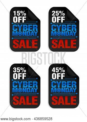 Set Of Cyber Monday Power Sale Stickers. Cyber Monday Sale 15%, 25%, 35%, 45% Off. Vector Illustrati