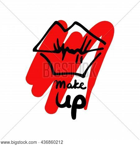 Graffiti Lips In The Form Of A Kiss On A Red Background Of Smeared Lipstick And The Inscription Make