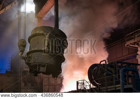 The Metallurgical Bucket Hangs On A Special Crane Beam.